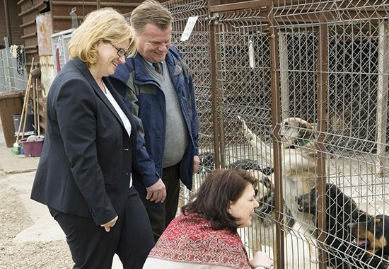 V. l. n. r.: Anette Kramme, Thomas Schröder und Ute Vogt besuchen ein privates Tierheim in Rumänien.