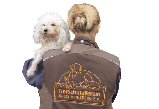 Eine Mitarbeiterin aus des Tierschutzvereins Kreis Heinsberg kümmert sich liebevoll um einen Hund.
