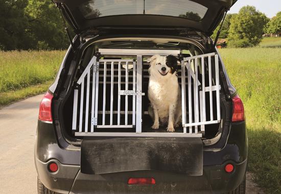 Im Kofferaum ist der Hund auf Reisen in einer stabilen Box sicher aufgehoben.
