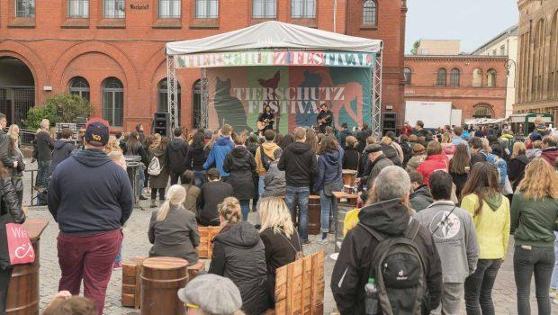 Mit Musik, vegetarischem Essen und politischen Gesprächen haben Tierschützer und Tierfreunde in Berlin ein Fest für Tiere gefeiert.