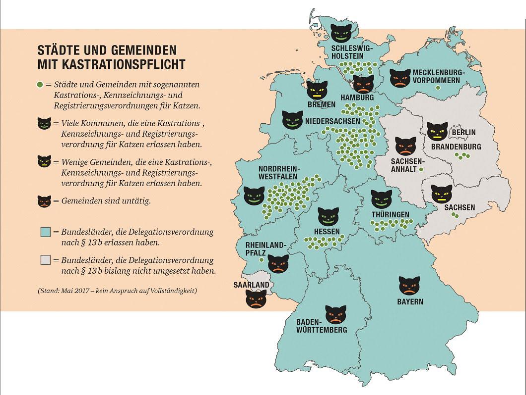 Diese Landkarte bildet alle Bundesländer und deren Gemeinden ab, die Kastrations-, Kennzeichnungs- und Registrierungsverordnung für Katzen eingeführt haben.