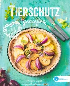 """Cover des Kochbuchs """"Tierschutz genießen"""" des Deutschen Tierschutzbundes. Ab sofort im Handel erhältlich."""