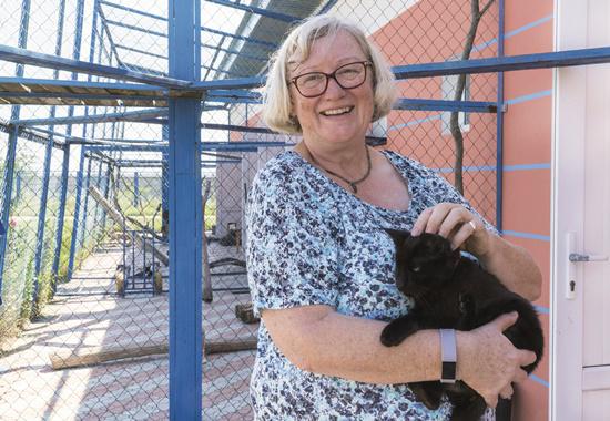 Dr. Brigitte Rusche, Vizepräsidentin des Deutschen Tierschutzbundes, auf Tuchfühlung mit einer Katze im Tierschutzzentrum Odessa.