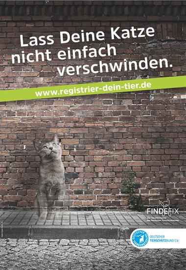 """Unter dem Slogan """"Lass Deine Katze nicht einfach verschwinden"""" macht der Deutsche Tierschutzbund auf dringend notwendige Registrierungen aufmerksam."""