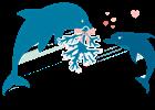 Delfin umgarnt Weibchen.
