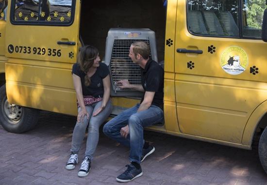 Simone Sombecki und Matthias Schmidt, Vorsitzender des Vereins Tierhilfe Hoffnung, im Gespräch.
