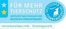 """Logo Tierschutzlabel """"Für Mehr Tierschutz"""" des Deutschen Tierschutzbundes Einstiegsstufe"""