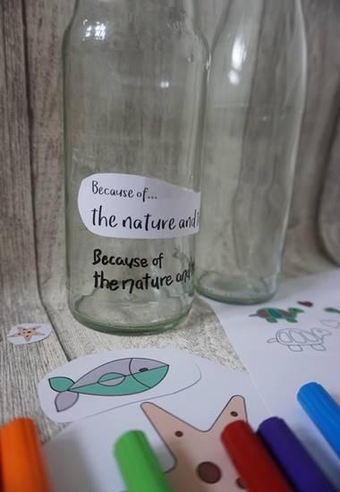 Persönlich gestaltete Glasflasche